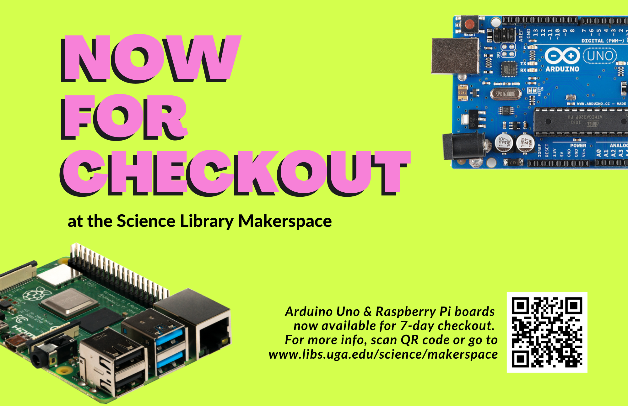 arduino and raspberry pi available for checkout