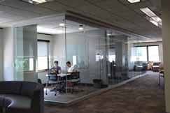Group study rooms on the first floor of the Main Library