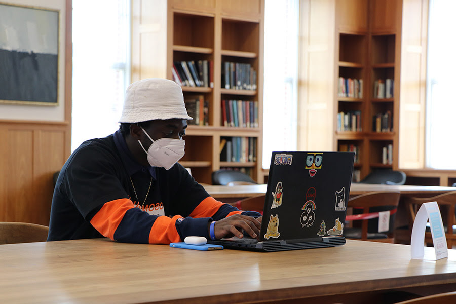 A student studies in the Reading Room