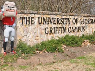 "Mascot ""Hairy Dawg"" standing beside a stone wall that read ""The University of Georgia Griffin Campus"""